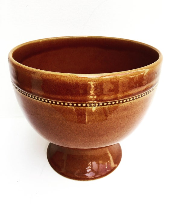 Old Höganäs Keramik Large Bowl Dinnerware Brown large , Brown Scandinavian Design Swedish  Pottery Sweden Mid Century Modern 70s Old