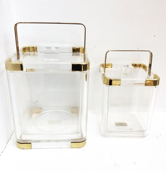 Hans Turnwald Collection 1970s Hollywood Regency Lucite Ice Bucket  and Champagne bucket, gold  wine cooler Made in Germany, bar accessories
