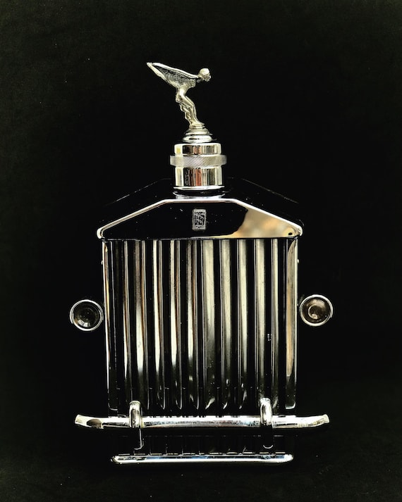 Vintage Rolls Royce Radiator Flask and Musical Box Hip Flask with musical box and a emblem vintage liquor decanter flask music box chromed