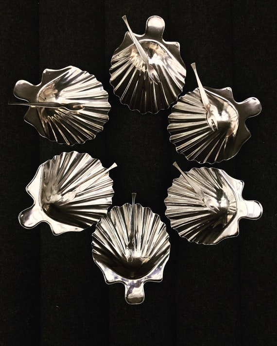 Shell silver plate set 6 plates made by Bruno Wiskemann, Art Deco Seafood dish set Belgium candy dish, table dish, serving dish