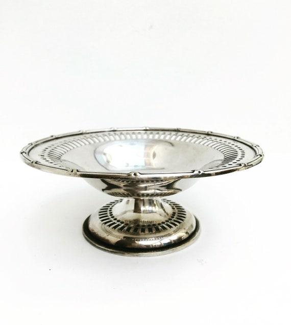 Pedestal dish vintage Silver plated  Arthur S. Zimmerman 1900s England nut dish condiment jewelry dish keys candy dish gift for her