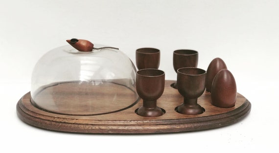 Wooden egg cup set for 4 with cheese holder and salt and pepper shaker with holder Mid Century breakfast set with mouse French Vintage