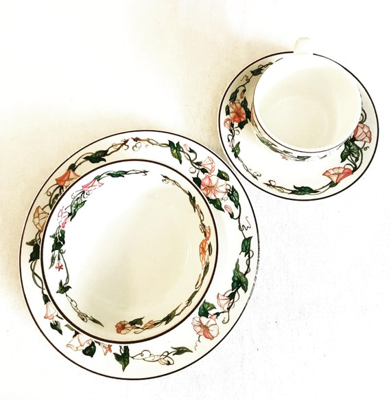 Villeroy and Boch Palermo pattern Breakfast set 4 for one set complete cup saucer plate and cereal bowl Pink Morning Glory Border Brown Trim