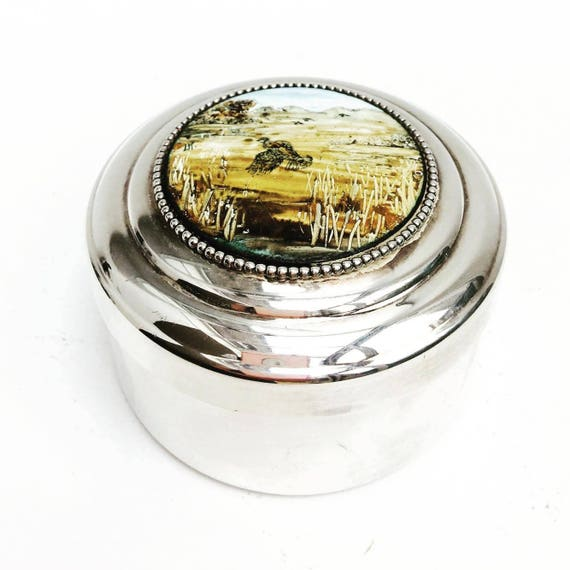 Vintage Metal Box, old Metal Box with Lid, Retro Silver and Ceramic Jewelry Box , adorned with a, Wild  painting, Silver Metal Jewelry Box.