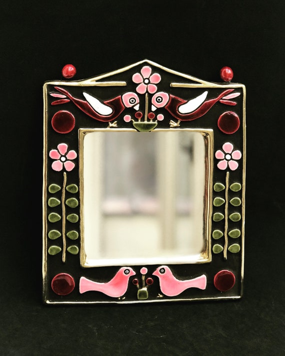 Francois Lembo Mirror Vintage Rectangular Ceramic Birds and flowers on dark chocolate brown pink bordeaux French Vallauris glazed ceramic