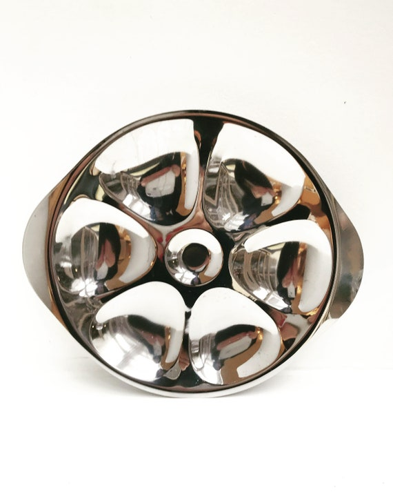4 Oyster Plate rare Stainless Steel Oysters Plate set, beautiful vintage, unusual  60s forks and lemon squeezer collector dish,