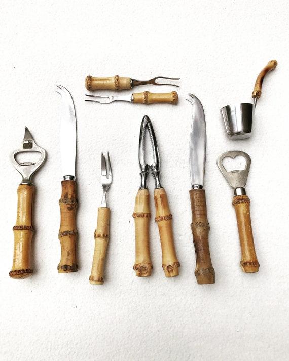 Bamboo bar accessories tools nutcracker Jigger cocktail fork olive picks bottle opener Vintage Japan Mid Century boho chic gift for him
