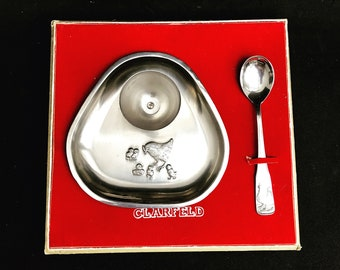Baby gift set Vintage new born gift baptem christening child  boxed egg cup and spoon chicken Newborn Birthday one year baby shower easter