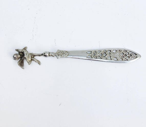 Silver plated Letter Opener, Cherub Letter Knife  Engraved Plated Letter Opener, Metal Office Knife, Gift Idea , Made in Italy Silver Plate