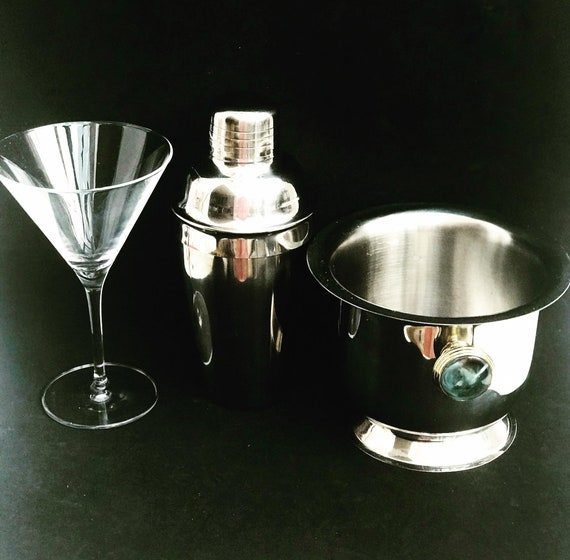 Cocktail set for one, 3 pieces: cocktail shaker and cocktail glass signed  by Guy Degrenne and ice bucket bar cart styling gift for single
