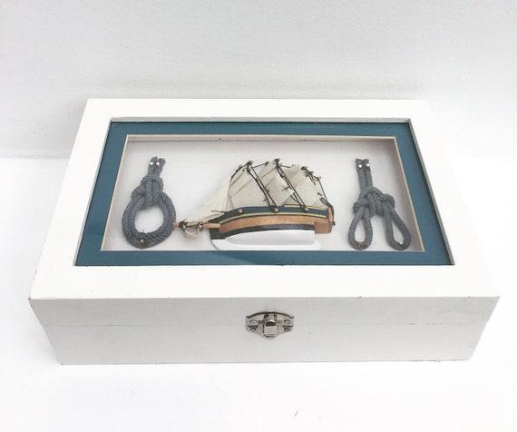 Box Rustic White Nautical vintage beach decor Cottage Chic Beach House Storage Box