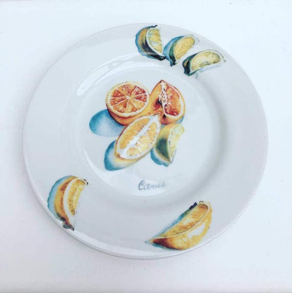 Decorative Dish, Collectible Dish Reco, plate decorated Lemon,  Citrus, Made in Japan, japanese dish designed by Jacqui Morgan,