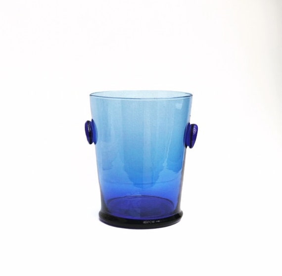 Ice Bucket Vintage Blue Glass  Bucket 50s handmade bar accessories, mid century modern vintage bar, cocktails gift him bar cart decor