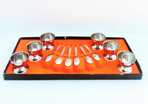 Egg cup Vintage Stainless Steel Soft Boiled Egg Cups Egg Holder Tabletop Cup Kitchen Tool spoons  Set of 6 by Guy Degrenne