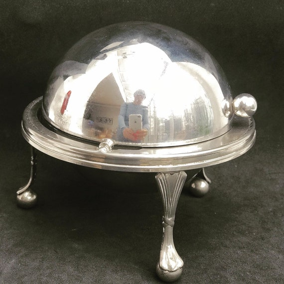 Butter Dish with Lid Roll top caviar dish Silver Plated Breakfast Set Vintage Butter globe domed Lidded Dish English wedding gift