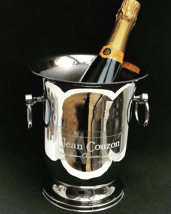 Champagne Bucket Jean Couzon France Mid Century stainless steel heavy excellent quality wine cooler ice bucket bar cart wedding gift