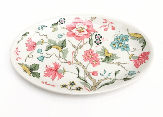 Pickle Dish Chintz Villeroy & Boch  Chintz Oval Tray, Fine China Dinnerware Pink, Blue Flowers, discontinued china replacement serving plate