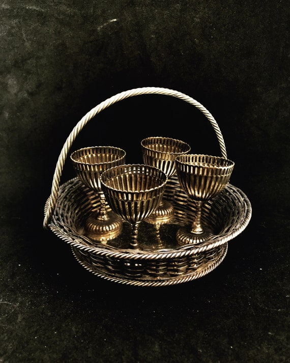Egg cups 19th Century Victorian Silver Plated Egg Cruet Breakfast set  Silver plated 4 Egg Cup Spoon Stand,  England EPNS Chic Cottage