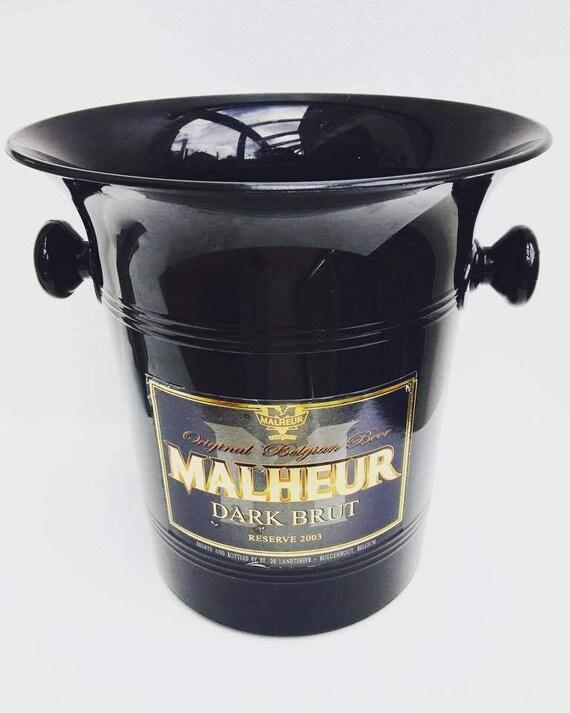 Black Beer bucket, ice bucket, made in Belgium for Belgian beer Malheur Dark Brut, Gift for Him, Black Bar accessories, vintage bar