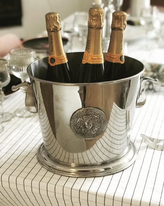 Champagne Bucket Large 3 bottles Silver Plated  Bar Cart Decor Christmas Table wine chiller cooler Gift for Wedding Gift man cave