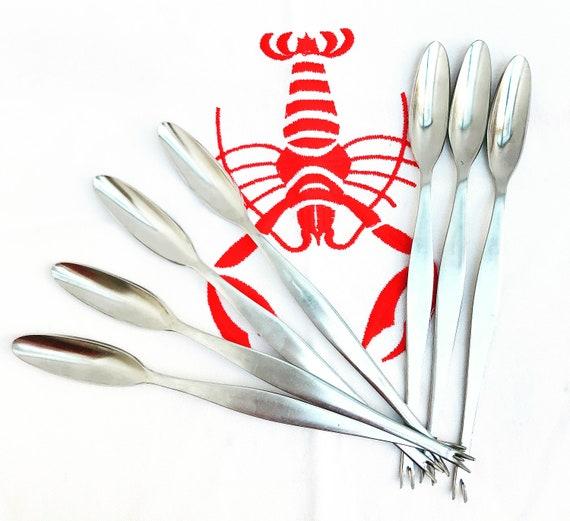 7 Lobster fork set Vintage Seafood picks forks cutlery  stainless steel Set Food photo prop Elegant Dinner wedding gift seafood crab spoon