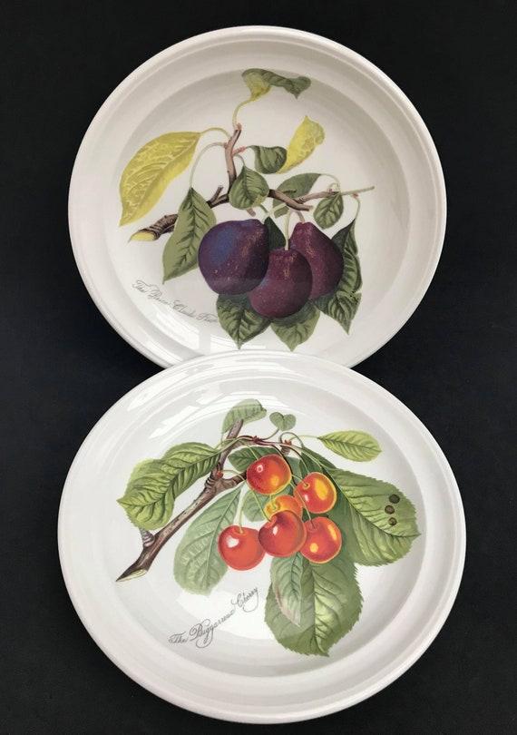 "Portmeirion Pomona Vintage 8.5"" Salad plate 2 Dessert plum cherries grapes gooseberries  gift collector service plate Grimwoods Royal George"