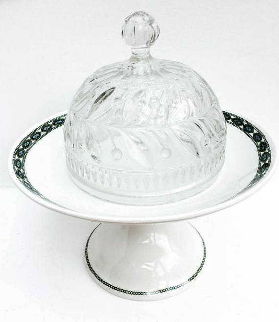 Crystal Cheese cover Carved, cherry pattern for cakes, muffins or cheese. With a cake stand white with green guard Villeroy and Boch, !940.
