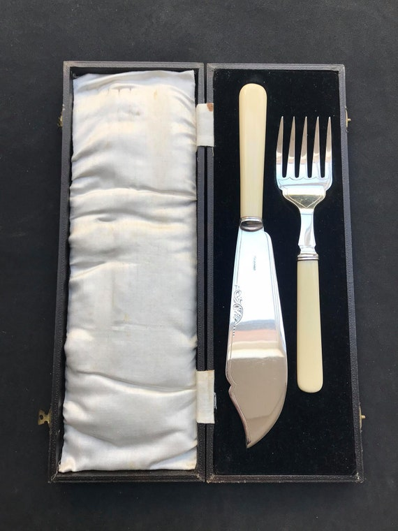 Serving cutlery set seafood fish knife England Silver Plated Mid Century Ivorine handled gift for her seafood flatware wedding gift boxed