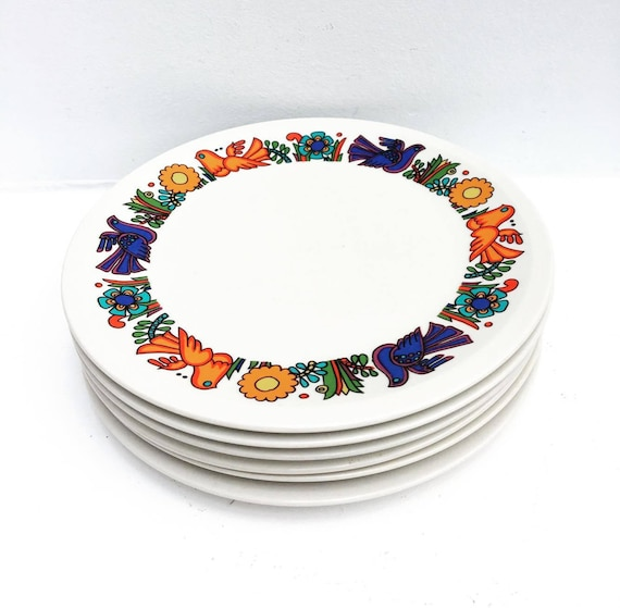 Acapulco Salad Plates 6 Side Plates  Dessert or Entrée Border Design by Villeroy and Boch Acapulco Pattern by Christine Reuter , 1967