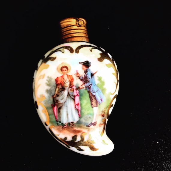 Perfume scent bottle porcelain Miniature Bohemian vintage Courting couple scene heart shaped Collection Chatelain bottle collector gift