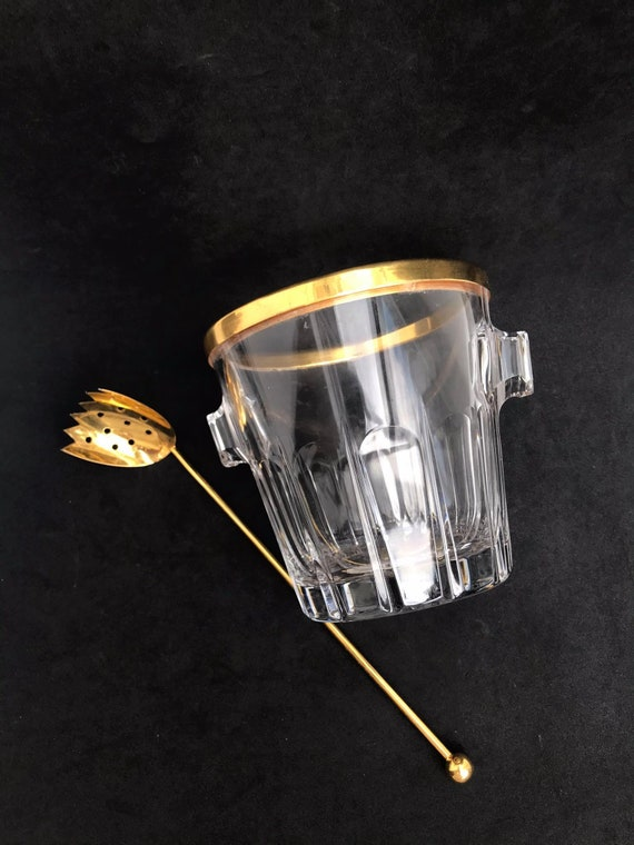 Ice Bucket Val Saint Lambert signed heavy crystal with golden 24 K rim Mid Century barware  Mixology tools bar cart Hollywood Regency