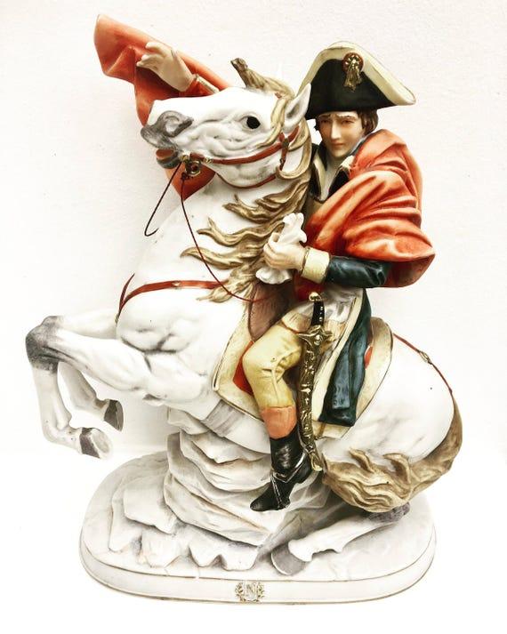 Napoleon Bonaparte Sculpture, Biscuit Large Statuette Horse  Made in Italy, Figurine, Porcelain  Sculpture, Napoleon Crossing The Alps, 1960