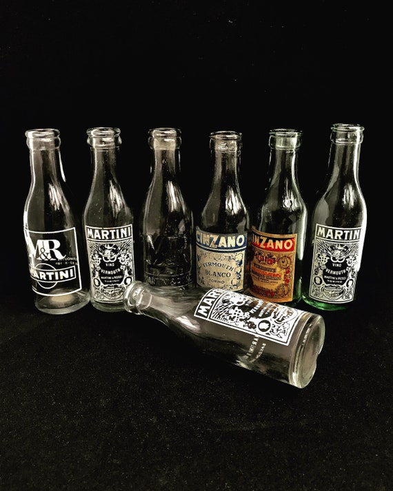 Martini Cinzano empty bottles Vermouth collection set of 7 mini bottles Mid Century crafts French Mid Century Advertising Upcycling Art