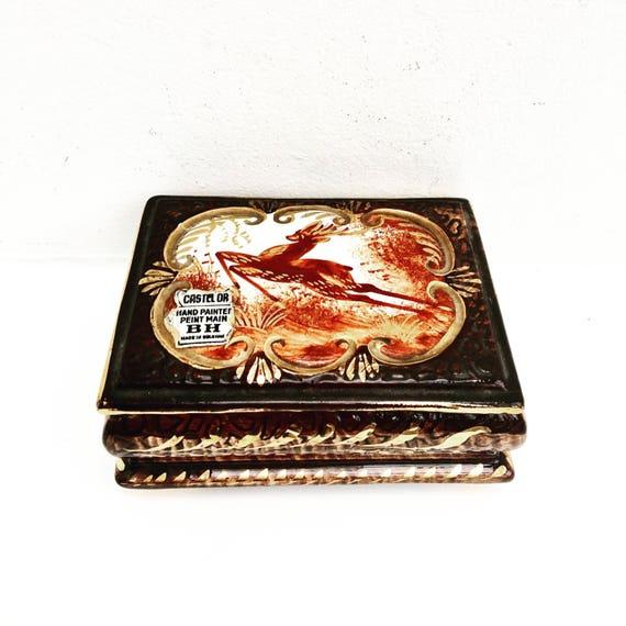 Vintage Belgian Majolica Ceramic Lidded Deer Trinket Box by H B Henri Bequet, Quaregnon Belgium, ceramic trinket jewelry golden box, 1940s