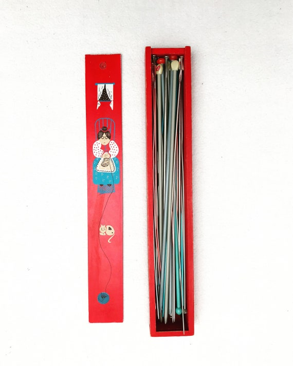 Vintage Knitting Needle Box Red  Needles Vintage Wooden Pencil Box grand mother gift Lot knitting needles large pen box Knitting Needle Box