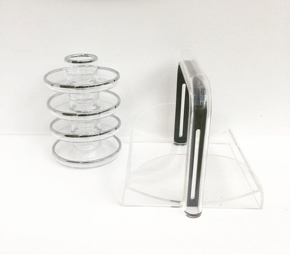 Guzzini clear acrylic napkin holder  egg cups made in Italy and 4 egg cups clear  lucite decor breakfast set 1970s, Mid Century Modern 70s