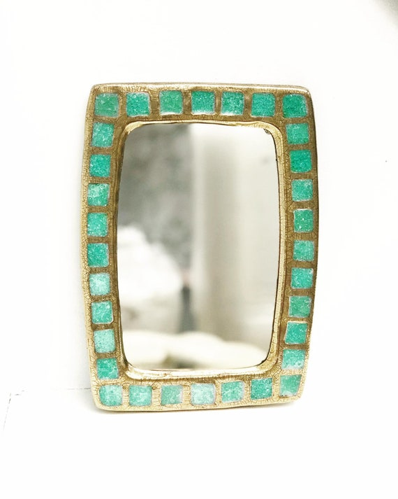 Mirror Francois Lembo Vintage Rectangular turquoise cabochons Ceramic  French Vallauris glazed ceramic Jeweled signed Golden mirror