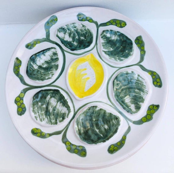 1  Oyster Plate French majolica Vintage, Majolica Oysters Plate Made by Saint-Amand in France 1968, dish collection, dish collector