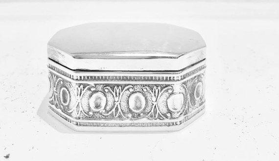 Mexican taxco Silver Box, Sterling Silver 925 solid,   Large Mexican Box, Pill box, geometric silver wedding  ring box