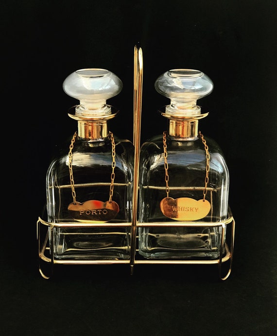 Whisky Porto Liquor bottle set 2  bar Glass Scotch Bourbon Hollywood Regency bar man cave gift Gold bar decor gift for him Bottles