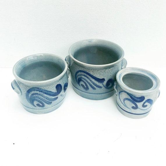 Westerwald Salt-Glazed Cobalt Blue Set 3 plant pot indoor grey Plant pot cache pot outdoor  Pottery,  Blue cobalt Grey Ceramic Stoneware.