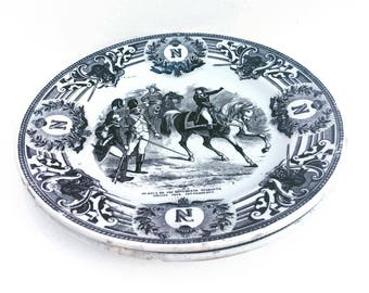 Boch Dishes Napoleon Bonaparte Boch Belgium Plates Antique Transferware Boch Freres, 2 Plates Napoleon Battles, Black and White Napoleon