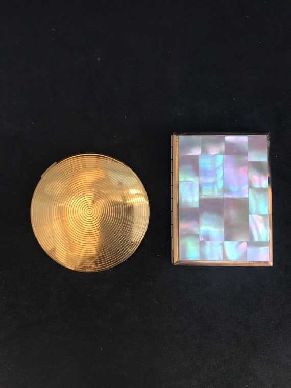Compact mirror powder Vintage Mother of Pearl  AGME Swiss Made  Vanity bag hand gift collection Round Compact