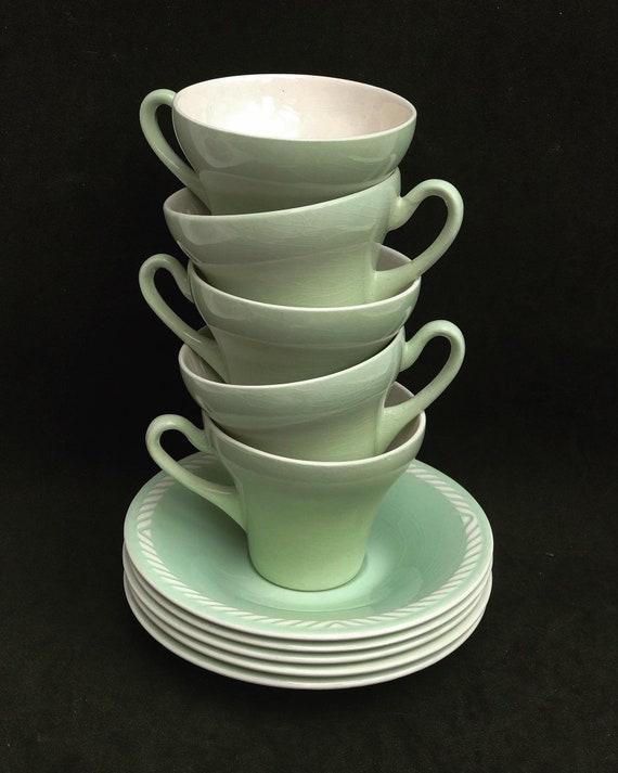 Coffee cups or espresso set Vintage Figgjo Flint Norway Sissel Mint green Vintage   1950s Ragnar Grimsrud Scandinavian