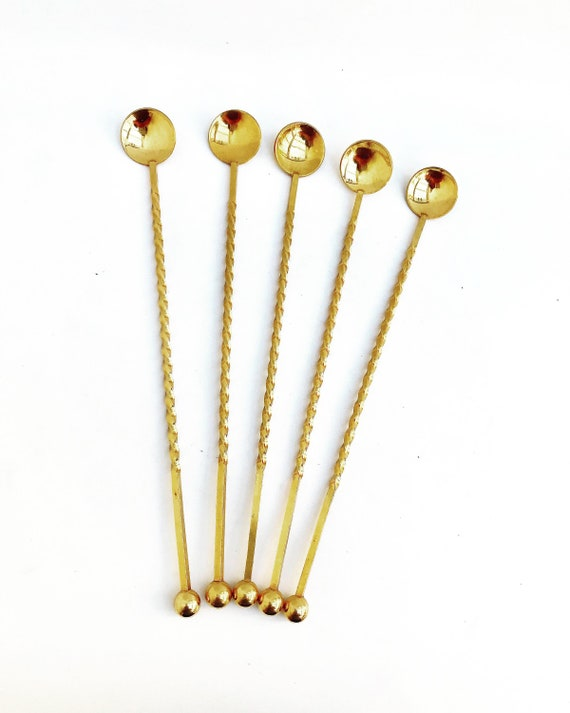 Cocktail Stirrers spoons Champagne Stirrers Sticks Set of 5 Gold Plated Bar Tools Bar Cart Accessories bartender mixing tools gift