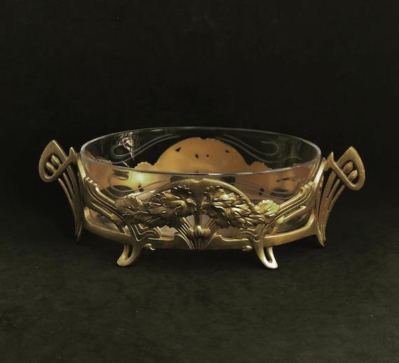 Art Nouveau Antique Gallia Christofle small jardinière pot planter glass golden metal Plant pot table decor Collection with original insert