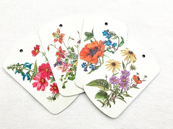 Botanical illustrations Melamine cutting boards sandwiches Breakfast  Vintage 70s  breakfast plants flowers wall kitchen decor boho chic