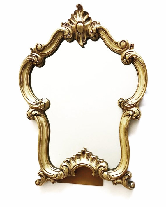Gold Mirror 1960s Vintage Gilt  Table vanity wall molded Stucco Mirror Bedroom decor Hollywood Regency wall hanging gold accent