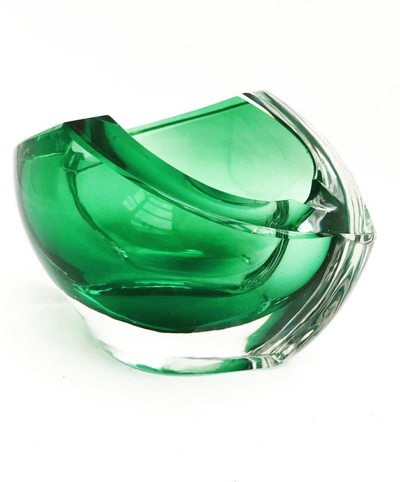 Crystal Ashtray Val Saint Lambert Free-Blown green esmerald  and Clear Crystal  Paper Weight desk accessories ornament gift collector