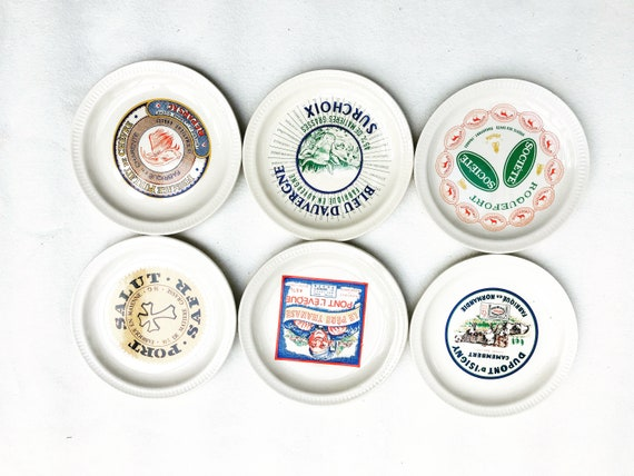 6 French Cheese Plates France Advertising of the Brands 6 Plates Saint-Amand 1950s Vintage